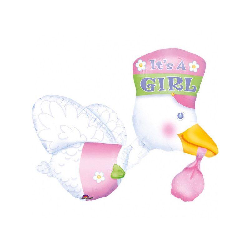 Ballon multi alu cigogne 75 cm - It's a Girl Déco festive 07026 01