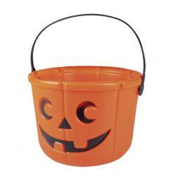 Seau à bonbons citrouille halloween 18 cm Déco festive 74553