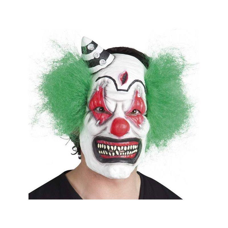 Masque latex clown avec cheveux verts adulte Accessoires de fête 97506