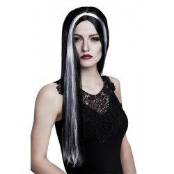 Perruque longue sorcière noire et blanche adulte Accessoires de fête 86081