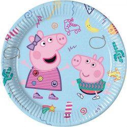 Assiettes jetables anniversaire 23 cm Peppa Pig™ x 8 Déco festive LPIG91032