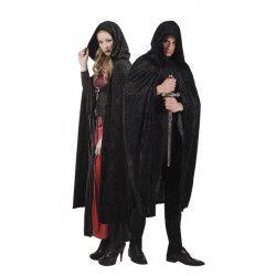 Cape velours noir avec capuche 170 cm adulte Accessoires de fête 96942
