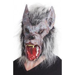 Masque latex loup garou avec poils adulte Accessoires de fête 97515