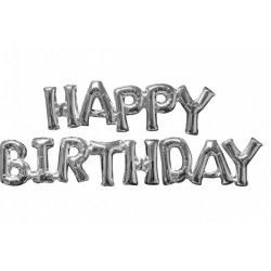 Ballon anniversaire alu Happy Birthday - Argent Déco festive 3609701