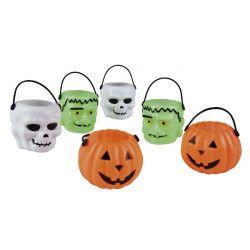 Lot 6 seaux plastique Halloween assortis Déco festive 74483