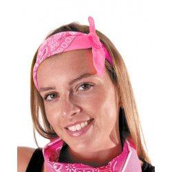 Bandana néon rose Accessoires de fête 333140