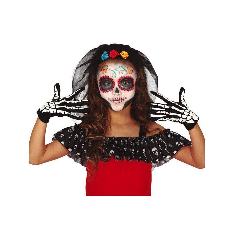 Gants squelette noirs et blancs enfant Accessoires de fête 17725