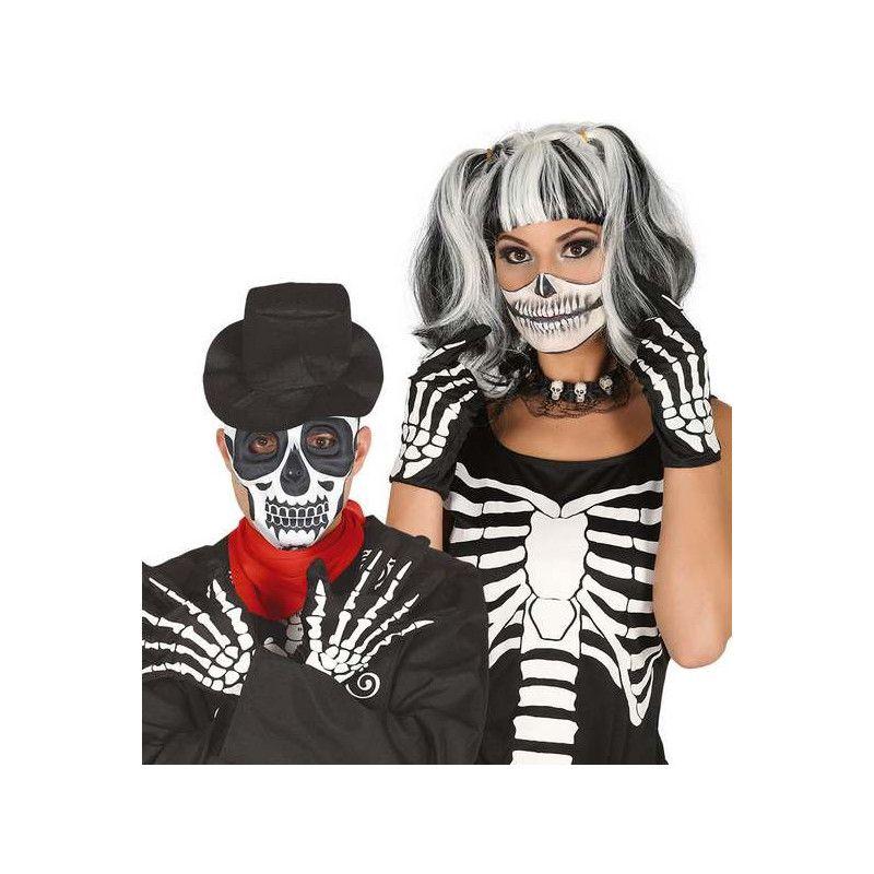 Gants squelette noirs et blancs Accessoires de fête 16667