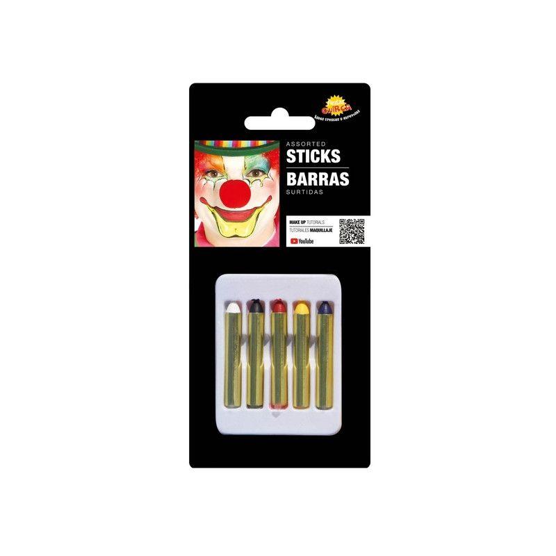 Boîte 5 crayons maquillage assortis Accessoires de fête 15395