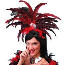 Coiffe brésilienne avec plumes rouges et noires Accessoires de fête 1941