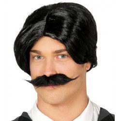 Perruque et moustache noires Accessoires de fête 4393