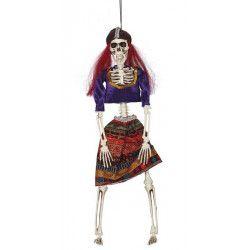 Squelette poupée voyante 40 cm à suspendre Déco festive 26387GUIRCA