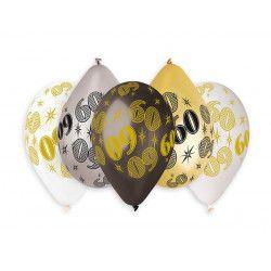 Sachet 10 ballons métallisés 30 cm nombre 60 Déco festive BA21476