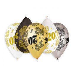 Sachet 10 ballons métallisés 30 cm nombre 20 Déco festive BA21471