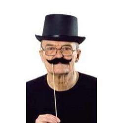 Moustache noire avec bâton Accessoires de fête 26415ST