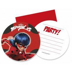 Cartes invitation anniversaire Miraculous Ladybug x 6 Déco festive LMIR91351
