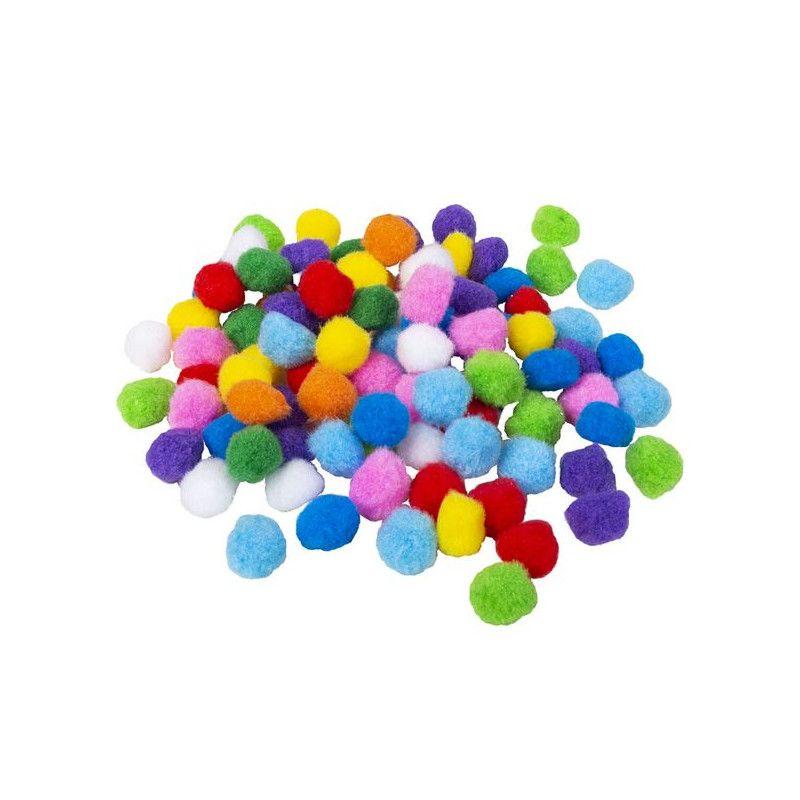 Sachet 100 pompons multicolores 2 cm Déco festive 54454