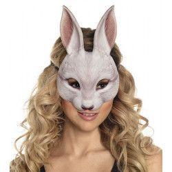 Demi-masque lapin blanc adulte Accessoires de fête 56734