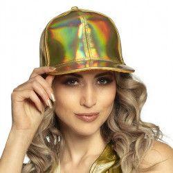 Casquette holographique réglable Or adulte Accessoires de fête 04298