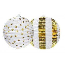 Set 2 lampions carton blanc et or 25 cm Déco festive 14066