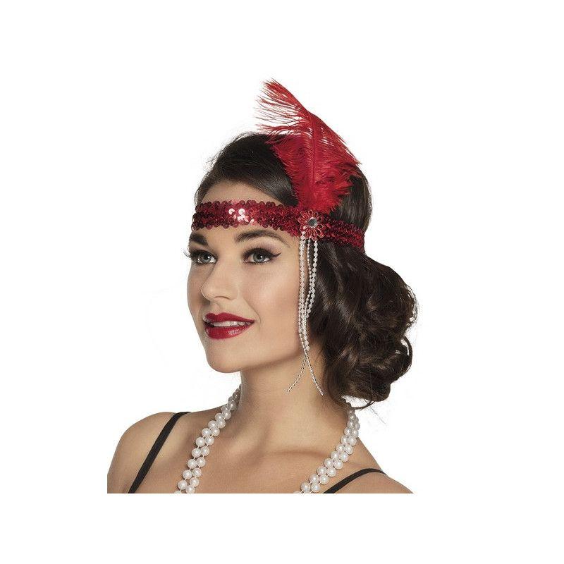 Bandeau charleston avec sequins et plume rouges femme Accessoires de fête 00618