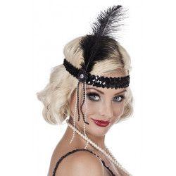 Bandeau charleston avec sequins et plume noirs femme Accessoires de fête 00620