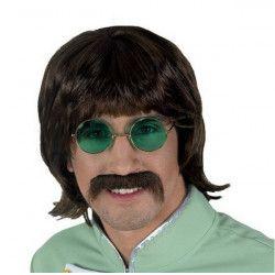 Perruque châtain courte Imagine avec moustache Accessoires de fête 71841CLOWN