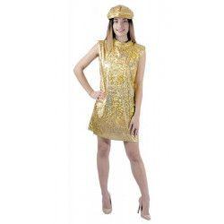 Déguisement robe disco or 70's avec casquette femme XL Déguisements 8650843