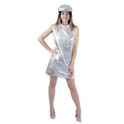 Déguisement robe disco argent 70's avec casquette femme XL Déguisements 8650844