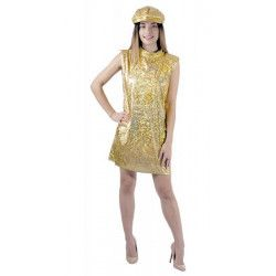 Robe disco or 70's avec casquette femme taille M/L Déguisements 8650943