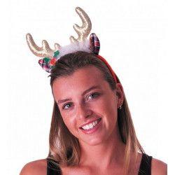 Serre-tête renne avec cornes sequins dorés Accessoires de fête 333178
