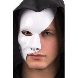 Demi masque blanc plastique adulte Accessoires de fête 00256