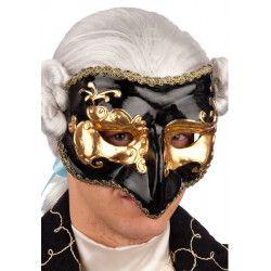Masque vénitien noir et or avec nez adulte Accessoires de fête 00658