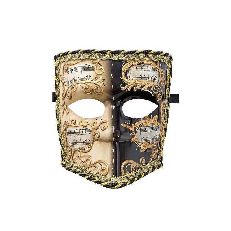 Masque vénitien Bauta noir et blanc adulte Accessoires de fête 01320