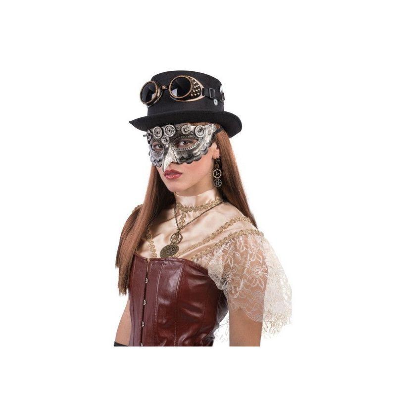 Loup steampunk argent avec bec adulte Accessoires de fête 01762