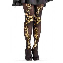Collants noirs steampunk femme taille unique Accessoires de fête 03862