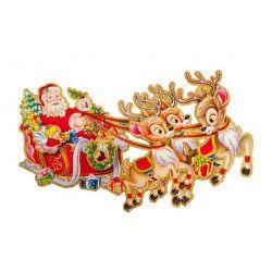 Poster Père Noël et rennes 65 cm Déco festive 09709