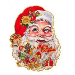 Poster Père Noël scintillant 60 cm Déco festive 09708