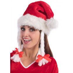 Bonnet Noël en peluche avec tresses Accessoires de fête 09724