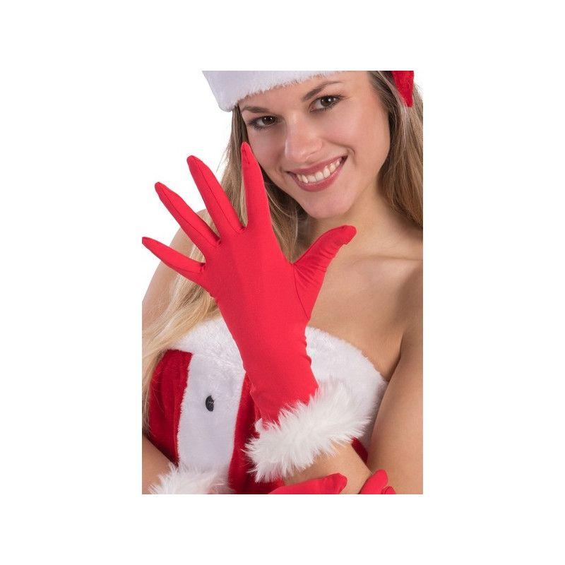 Gants rouges mère noël femme Accessoires de fête 09727