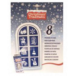 Pochoirs de Noël en papier x 8 Déco festive 022367