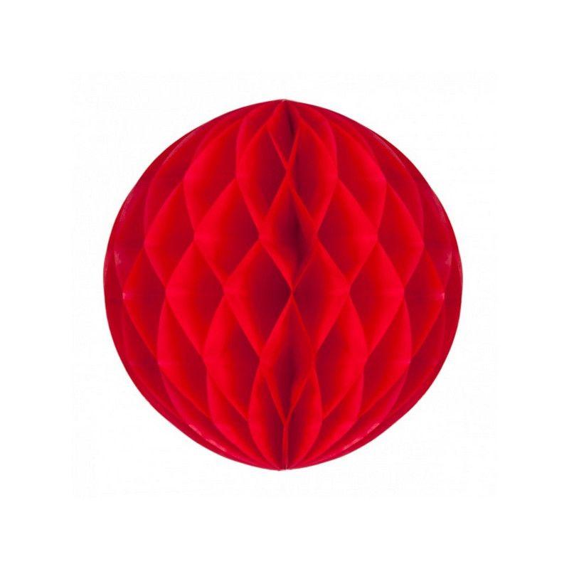 Boule alvéolée rouge 20 cm Déco festive 50229M