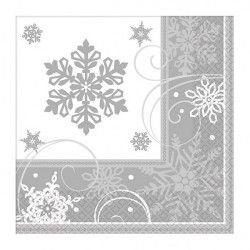 Serviettes papier flocons de neige 33 cm par 16 Déco festive 511559