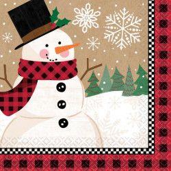 Serviettes papier bonhomme de neige 33 cm par 16 Déco festive 511679