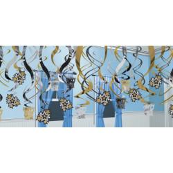 Vivartelles noires, dorées et argentées à suspendre 61 cm Déco festive 679985