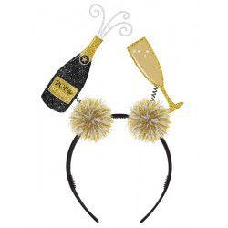 Serre-tête champagne et flûte Nouvel An Accessoires de fête 3900476