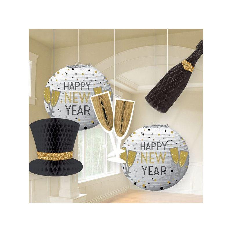Décorations Happy New Year à suspendre x 5 Déco festive 242490