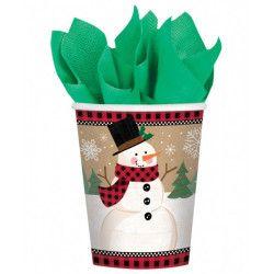 Gobelets carton bonhomme de neige 26.6 ml par 8 Déco festive 581679