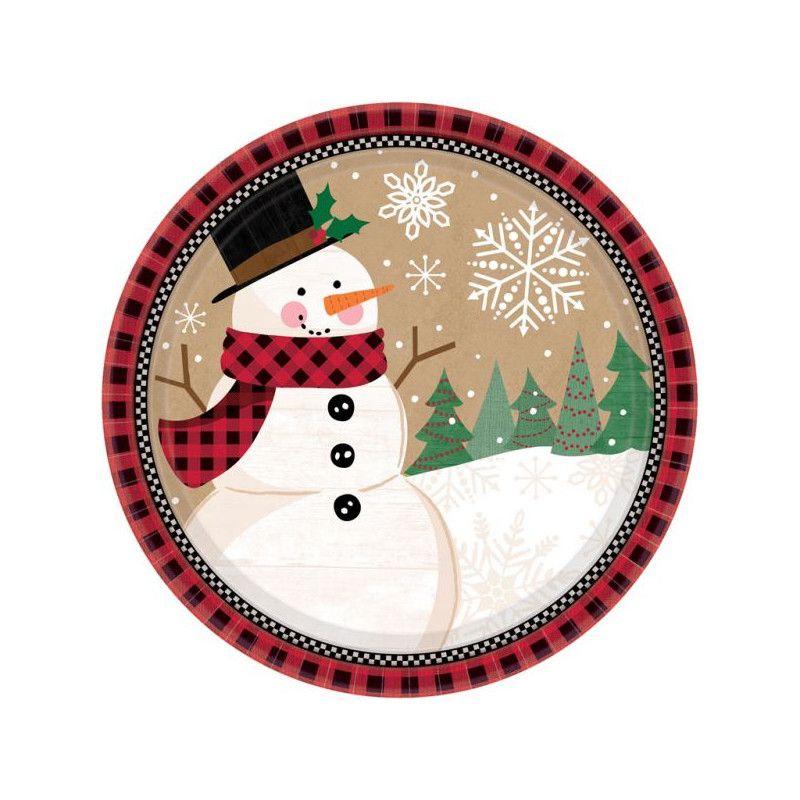 Assiettes carton bonhomme de neige 18 cm par 8 Déco festive 541679
