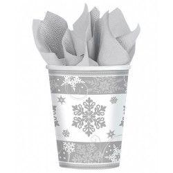 Gobelets carton flocons de neige 26.6 cl par 8 Déco festive 581559